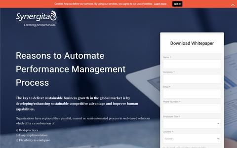 Screenshot of Landing Page synergita.com - Reasons to automate the performance management process - captured Sept. 21, 2018