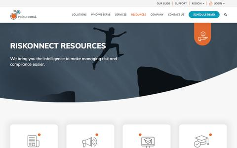 Screenshot of Case Studies Page riskonnect.com - Risk Management Resource Library · Riskonnect - captured Dec. 12, 2019