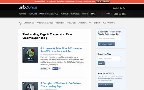 Screenshot of Blog unbounce.com - Landing Page and Conversion Optimization Blog  | Unbounce - captured Sept. 12, 2014