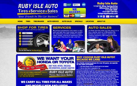 Screenshot of Home Page rubyisleauto.com - Ruby Isle Auto Tire & Service :: Milwaukee WI  Tires & Auto Repair Shop - captured Oct. 7, 2014