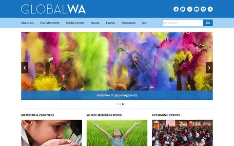 Screenshot of Home Page globalwa.org - Global Washington - captured Jan. 30, 2016