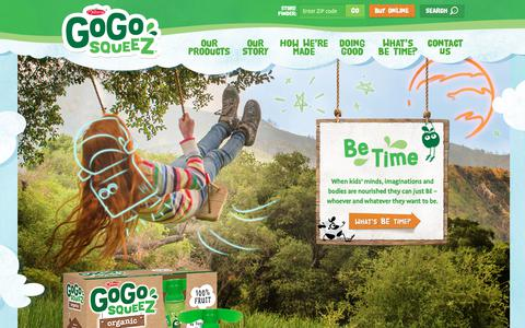 Screenshot of Home Page gogosqueez.com - GoGo squeeZ - Applesauce & Yogurt Pouches. Healthy Snacks For Kids. - captured Oct. 3, 2018