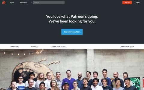 Screenshot of Jobs Page patreon.com - Patreon: Careers - captured April 11, 2016