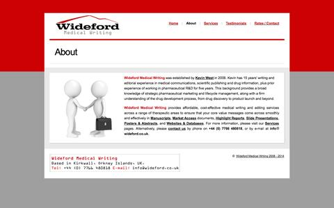 Screenshot of About Page wideford.co.uk - | About | Wideford Medical Writing | - captured Oct. 26, 2014