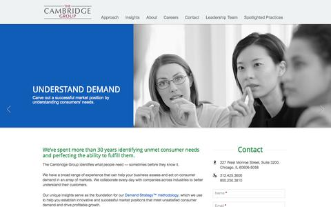Screenshot of Home Page thecambridgegroup.com - Home | Demand Strategy Methodology, Unsatisfied Consumer Demand, Growth Strategy Consulting Firm |The Cambridge Group - captured Oct. 7, 2014