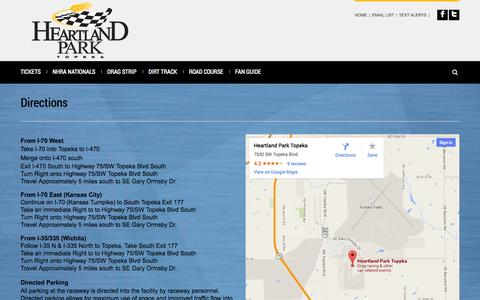 Screenshot of Maps & Directions Page hpt.com - Heartland Park Topeka | Directions - captured Oct. 2, 2014