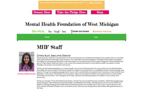 Screenshot of Team Page benice.org - MHF Staff | be nice. | Mental Health Foundation of West Michigan - captured Oct. 18, 2017