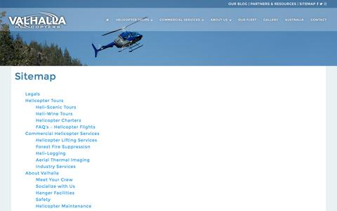 Screenshot of Site Map Page valhallahelicopters.com - Our Sitemap | Valhalla Helicopters - captured Nov. 28, 2016