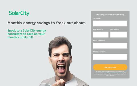Screenshot of Landing Page solarcity.com - SolarCity - A Cleaner, More Affordable Alternative to Your Utility Bill - captured June 24, 2016