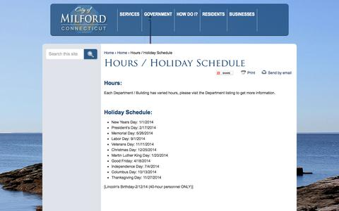 Screenshot of Hours Page milford.ct.us - Hours / Holiday Schedule | Milford CT - captured Oct. 2, 2014