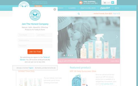 Screenshot of Home Page honest.com - The Honest Company - captured July 11, 2014