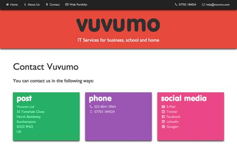 Screenshot of Contact Page vuvumo.com - Vuvumo Ltd - Contact Details - captured Aug. 17, 2016