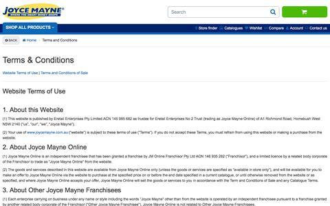 Screenshot of Terms Page joycemayne.com.au - Terms and Conditions | Joyce Mayne Australia - captured Jan. 9, 2016
