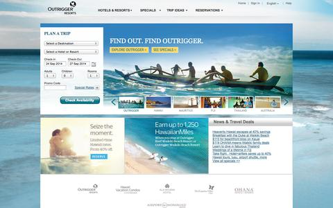 Screenshot of Home Page outrigger.com - Outrigger Hotels and Resorts - Hotels & Resorts in Hawaii, Australia, Fiji, Thailand, Guam and Mauritius - captured Sept. 24, 2014