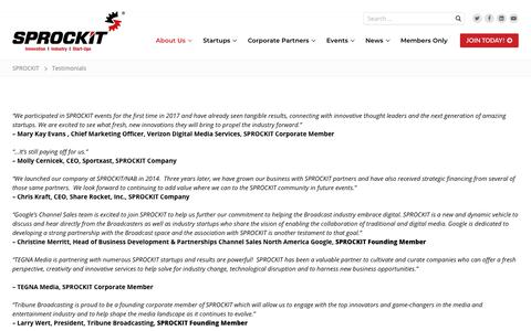 Screenshot of Testimonials Page sprockitglory.com - Testimonials – SPROCKIT - captured Oct. 1, 2018