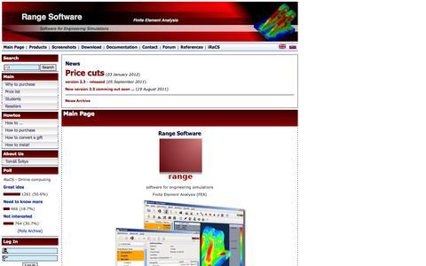 Screenshot of Home Page range-software.com - Range Software :: Finite Element Analysis - captured Oct. 7, 2014