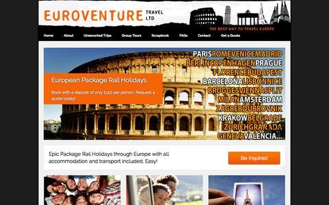 Screenshot of Home Page euroventure.eu - Interrail Packages - Euroventure - captured Sept. 30, 2014