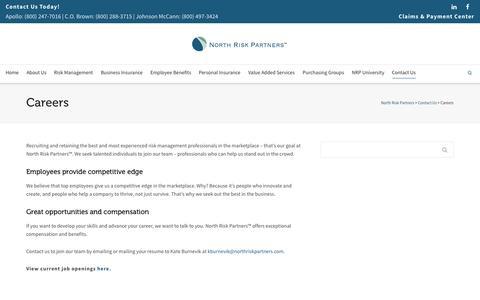 Screenshot of Jobs Page northriskpartners.com - North Risk Partners | Careers - captured Oct. 28, 2014