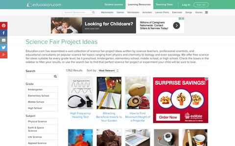 Science Fair Project Ideas - Over 2,000 Free Science Projects | Education.com | Education.com