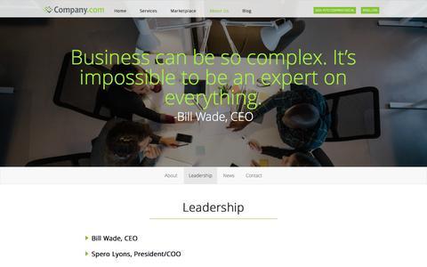 Screenshot of Team Page company.com - Company.com  | Leadership - captured Nov. 14, 2015