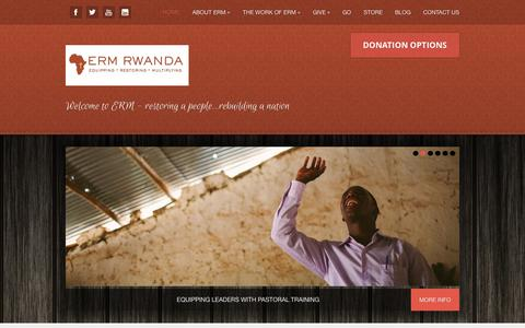 Screenshot of Home Page ermrwanda.org - ERM Rwanda - Equipping, Restoring, Multiplying - captured Oct. 1, 2014
