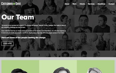 Screenshot of Team Page gatesmandave.com - Our Team | Gatesman+Dave - captured Nov. 18, 2015