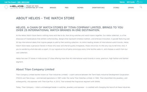 Screenshot of About Page helioswatchstore.com - About Helios Watch Store - 46 Stores Across 27 Cities - captured Oct. 1, 2018