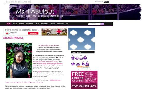 Screenshot of About Page msfabulous.com - MS. FABULOUS: About Ms. FABulous fashion design, indie clothing, style, beauty - captured Dec. 5, 2016