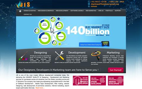 Screenshot of Home Page jharkhanditsolutions.com - Software,Mobile,Ecommerce Website Design Development Company in Ranchi, India - captured Sept. 19, 2014