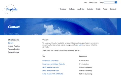 Screenshot of Jobs Page nephila.com - Nephila - Careers - captured Oct. 7, 2014