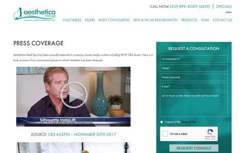 Screenshot of Press Page amedspa.com - Medical Spa News Reports Austin | Doctor Interviews - captured Oct. 3, 2018