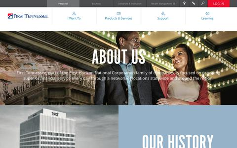 Screenshot of About Page firsttennessee.com - About Us - First Tennessee Bank - captured June 20, 2017