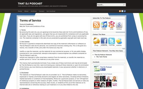 Screenshot of Terms Page thatdjpodcast.com - Terms of Service - captured Oct. 7, 2014