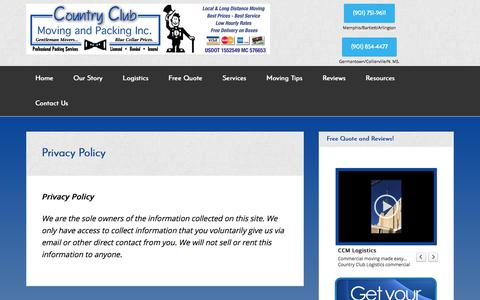 Screenshot of Privacy Page countryclubmoving.com - Memphis Movers - Call Country Club Moving and Packing Today - captured Aug. 26, 2017