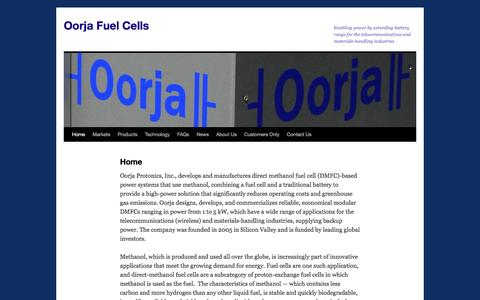 Screenshot of Home Page oorjafuelcells.com - Oorja Fuel Cells | Enabling power by extending battery range for the telecommunications and materials-handling industries - captured July 3, 2016