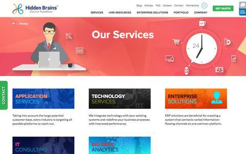 Screenshot of Services Page hiddenbrains.com - Hidden Brains' IT Services for All Businesses - captured Sept. 27, 2015