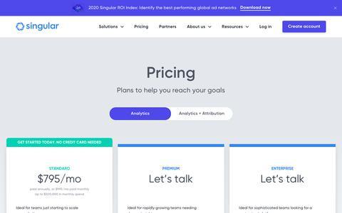 Screenshot of Pricing Page singular.net - Marketing Intelligence Platform – Singular - captured Feb. 17, 2020