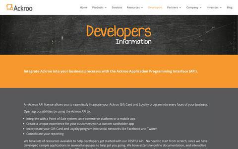 Screenshot of Developers Page ackroo.com - Developers - Ackroo - captured Oct. 7, 2017