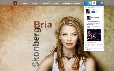 Screenshot of Home Page briaskonberg.com - BRIA: NY Trumpeter, Singer, Songwriter, Instigator. Chilliwack meets N - captured Jan. 28, 2015