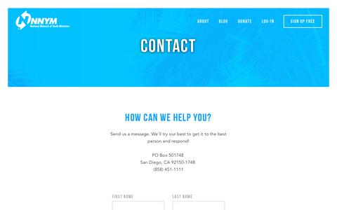 Screenshot of Contact Page youthworkers.net - Contact (NNYM - National Network of Youth Ministries) - captured Oct. 18, 2018