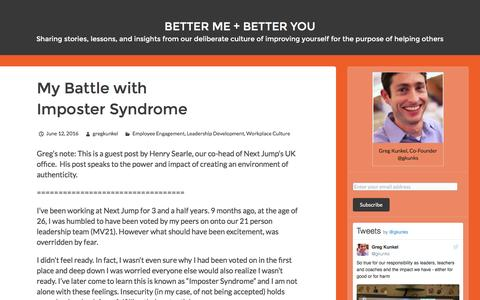 Screenshot of Blog nextjump.com - Better Me + Better You   Sharing stories, lessons, and insights from our deliberate culture of improving yourself for the purpose of helping others - captured Oct. 8, 2016