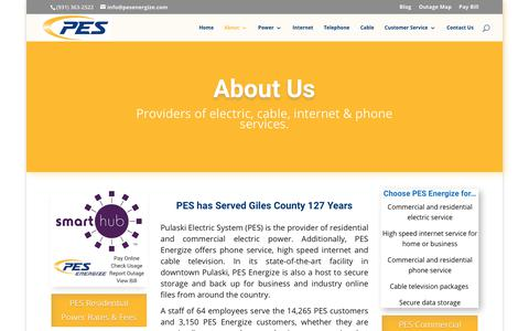 Screenshot of About Page pesenergize.com - About - PES Energize - captured Sept. 29, 2018
