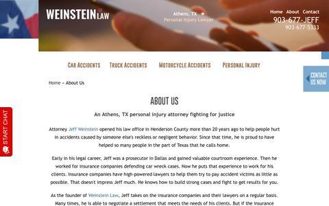 Screenshot of About Page jeffweinsteinlaw.com - About Us   Henderson County TX Lawyer   Attorney Jeff Weinstein - captured July 21, 2019