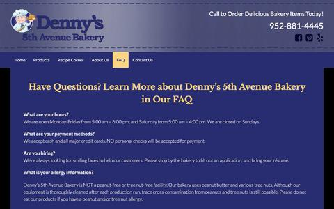 Screenshot of FAQ Page dennysbakery.com - Get Answers about Our Experienced Minneapolis, MN Bakery in Our FAQ - captured April 19, 2016