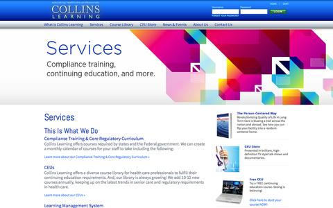 Screenshot of Services Page collinslearning.com - Collins Learning - Educate. Inspire. Transform. - captured Sept. 30, 2014
