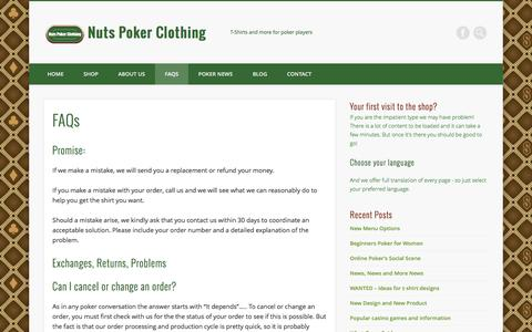 Screenshot of FAQ Page nutspokerclothing.com - FAQs - Nuts Poker Clothing - captured Aug. 14, 2016