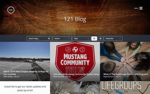 Screenshot of Blog 121cc.com - Blog -          121 Community Church - captured March 5, 2016