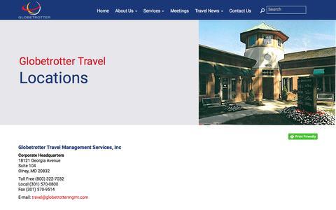 Screenshot of Locations Page globetrottermgmt.com - Locations | Globetrotter Travel Management - captured Feb. 18, 2018