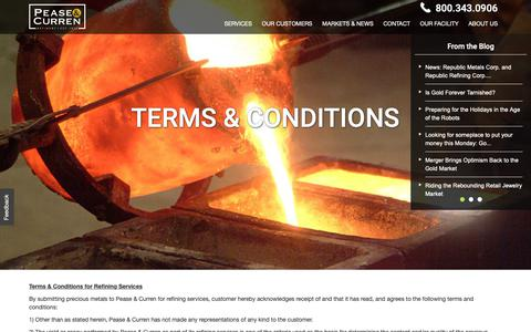 Screenshot of Terms Page peaseandcurren.com - Terms & Conditions Of Refining With Us | Pease & Curren - captured Nov. 10, 2018