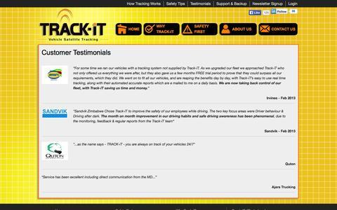 Screenshot of Testimonials Page trackit.co.zw - Customer Testimonials | Track-iT Zimbabwe | Vehicle Tracking | GPS Tracking | Fleet Management | Satellite Tracking | Car Tracking - captured Oct. 6, 2014